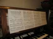 image of carillon keyboard with music sheet
